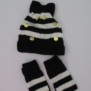 NIB Kate Spade Bow Hat Mittens Set 4 to 6y NEW